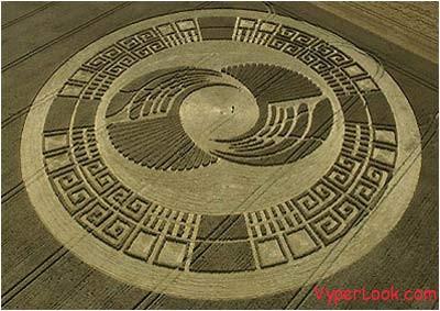 a crop circle near silbury hill in wiltshire england that resembles an aztec sun stone
