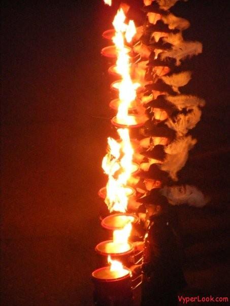 Flaming Drum Stick Performance