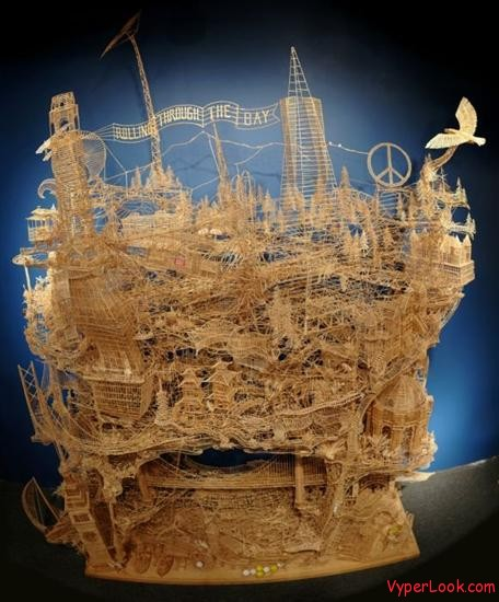Amazing Toothpicks Sculpture Rolling Through The Bay