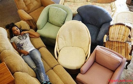 woman eats sofa