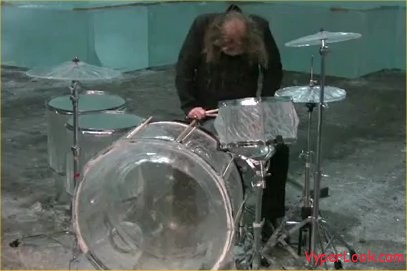 trashing the ice drums