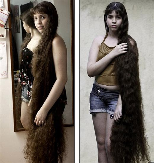 Natasha Moraes de Andrade  12 Year Old Girl With Longest Hair: 5 Feet 2 Inches Long as seen on CoolWeirdo.com