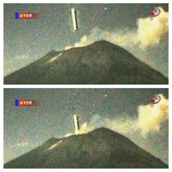 UFO goes in volcano