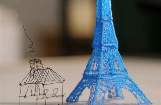 3d doodle house and eiffel tower