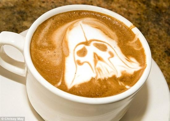 Darth vader coffee foam art
