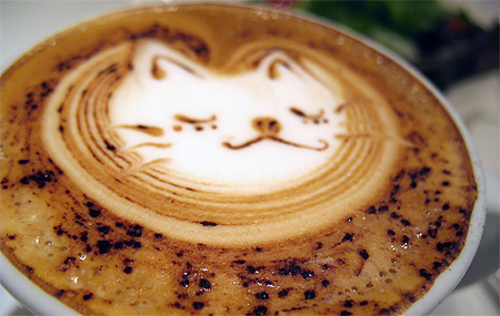cat coffee foam art Coolest Coffee Foam Art as seen on CoolWeirdo.com