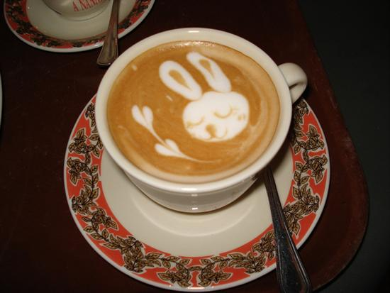 coffee foam art bunny