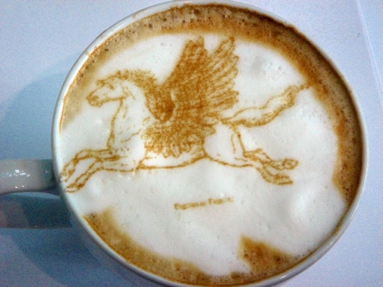 coffee tea foam art pegasus