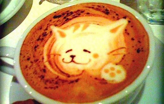 cute cat coffee foam art