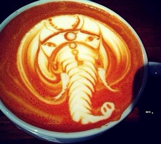 elephant coffee art