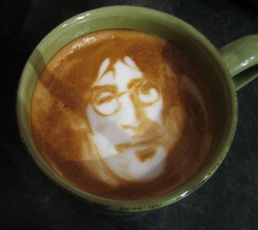 john lennon coffee foam art
