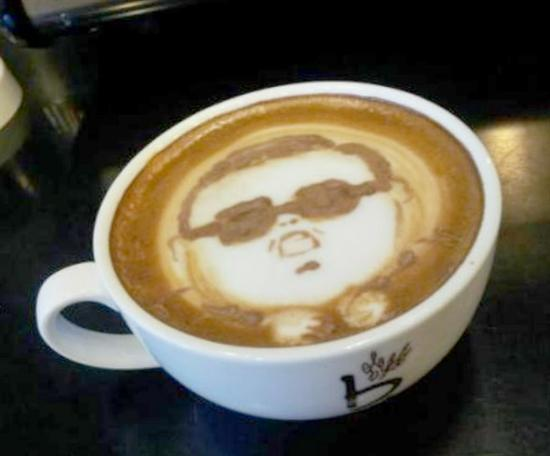 psy coffee art foam