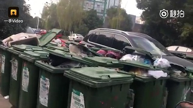 badly parked car surrounded by 40 trash bins