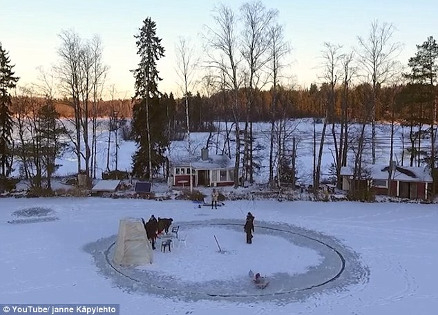 man made ice carousel in Finland