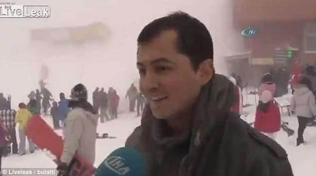 manager smiles while avalanche hit skiers