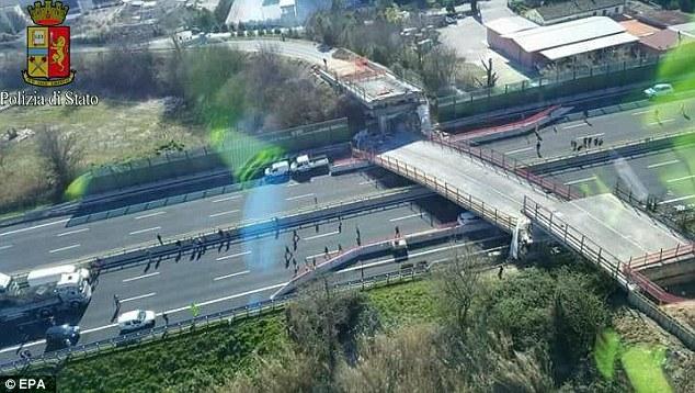 bridge collapsed onto highway