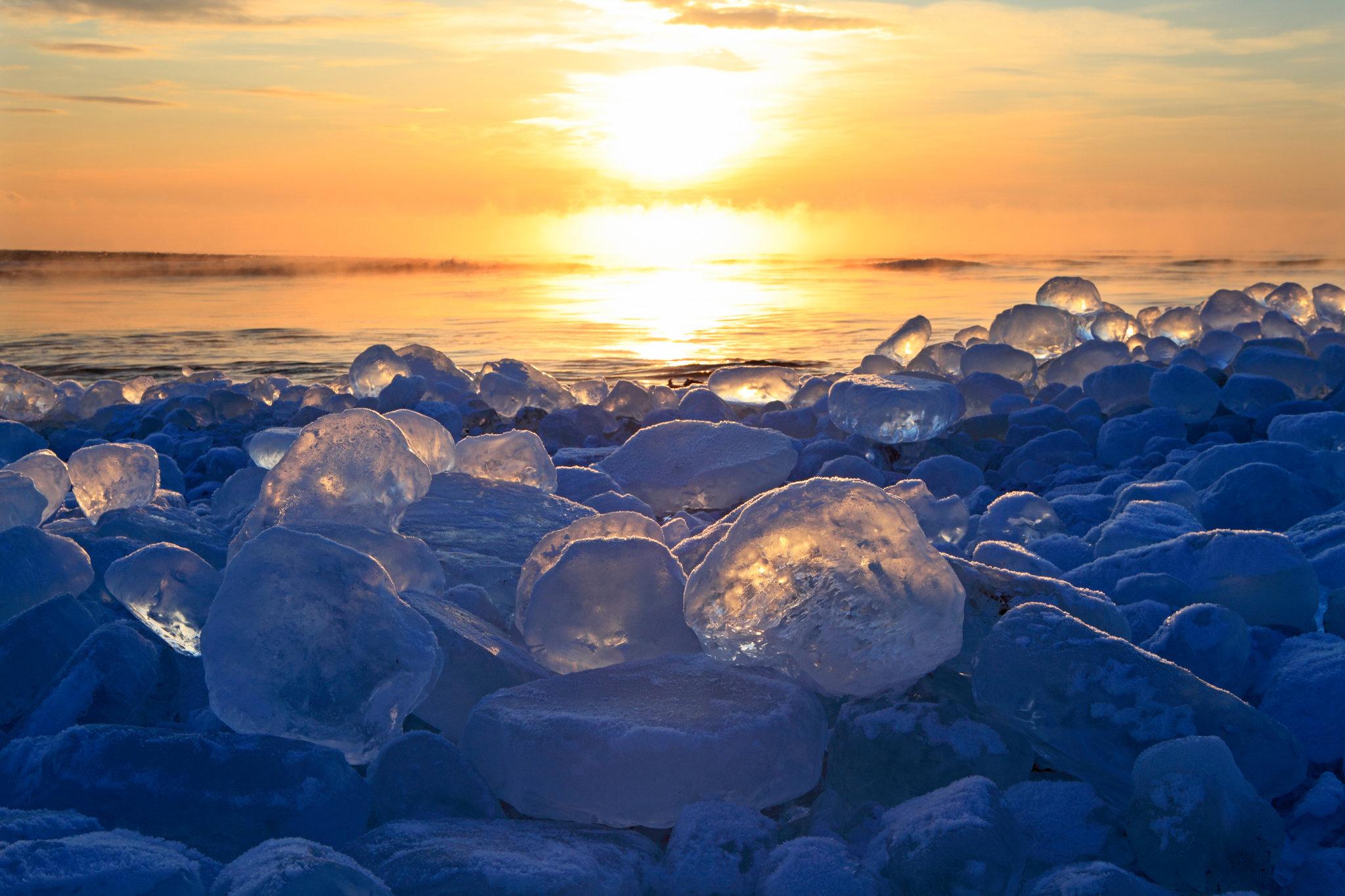 ice jewel shine like diamond on Japanese shores
