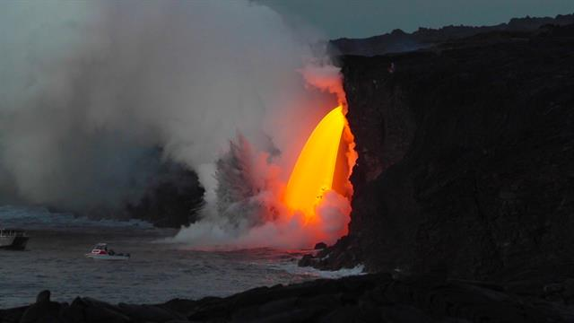 lava pouring from hawaii volcano