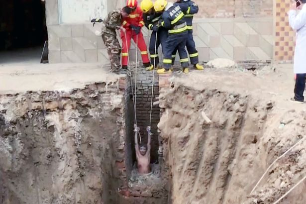 naked man got stuck in a toilet pipe