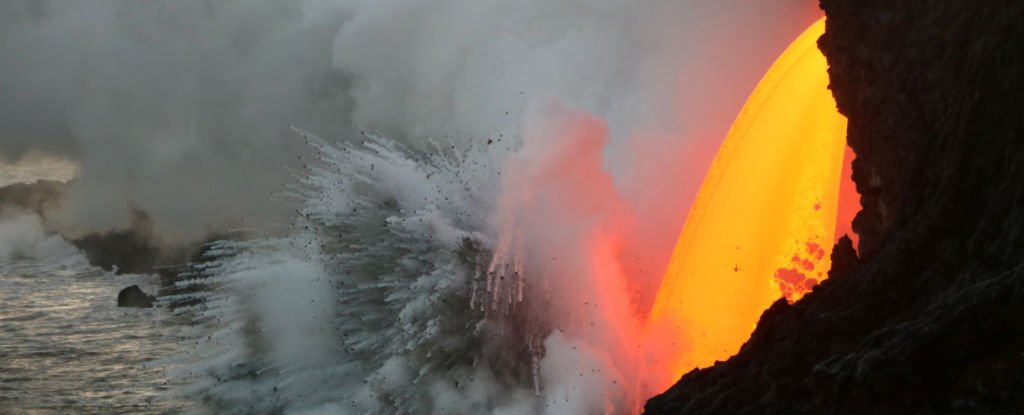 volcano lava hitting the ocean