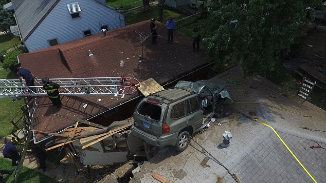 SUV ended up on the rooftop