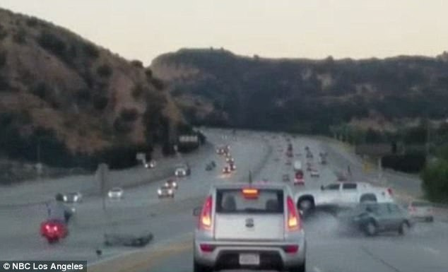 terrifying accident on highway in L.A